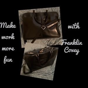 Franklin Covey Black Leather Work Bag